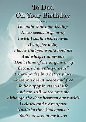 to dad on your birthday memorial graveside poem card with free ground stake f159