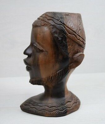 Antique Holy Ebony Wood Solid African Men Head Bust Heavy Carved Statue Figurine