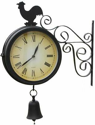 Double Sided Garden Clock With Bell and Cockeral- Outdoor or Indoor Use