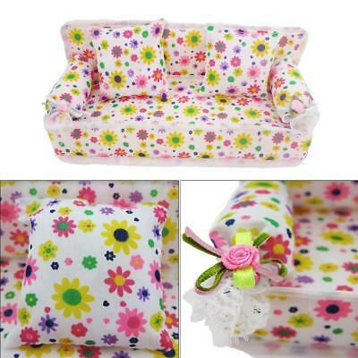 MINI FURNITURE FLOWER SOFA COUCH WITH 2 CUSHIONS FOR BARBIE DOLL HOUSE DIY Kids