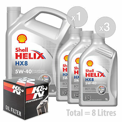 Engine Oil and Filter Service Kit 8 LITRES Shell Helix HX8 ECT C35w-40 8L