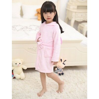 Girls Unicorn Baby Pink 3D Animal Bathrobe Dressing Gown Fleece Night Loungewear