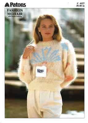 "PA4157 LADIES MOHAIR GEOMETRIC SWEATER KNITTING PATTERN 30-40""/76-102cm"