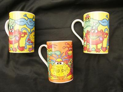 3 Dunoon Pottery Monster Mugs