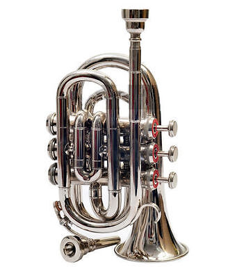 """BRAND NEW SILVER-NICKEL-PLATED Bb""""POCKET TRUMPET+FREE HARD CASE+MOUTHPIECE"""