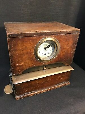 Vintage 1920's National Time Recorder, Oak Cased Table Top Clocking In Clock