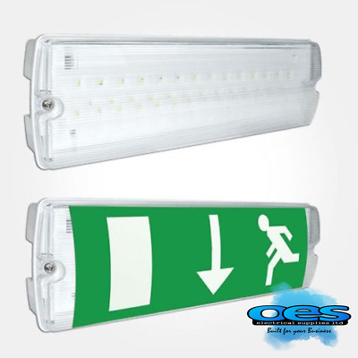 Led Emergency Light Fitting Bulkhead 3 Watt Ip65 Maintained Non-Maintained