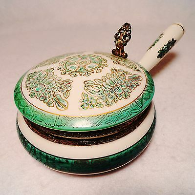 RARE Antique Isco hand painted Jade Green & Gold porcelain Silent Crumb Butler