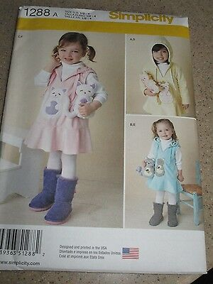 Simplicity 1288 Toddler Girls Size 1/2 to 4 Hooded Jumper Pattern Uncut