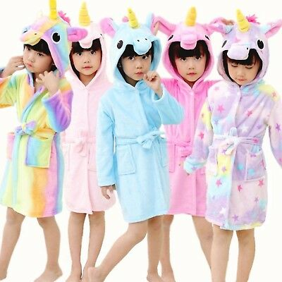 Kids Girls 3D Animal Unicorn Bathrobe Dressing Gown Soft Fleece Night Loungewear