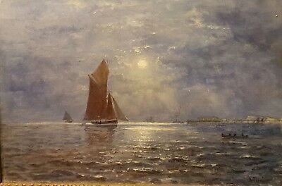 A Stunning 19th Century Moonlight Seascape By William Thornley. Oil On canvas