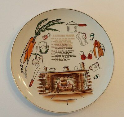 KITCHEN PRAYER Plate with Gold Writing & Trim Hand painted In Japan