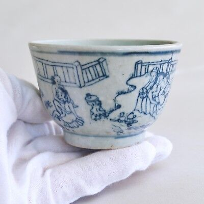 Chinese Antique Amorous Blue and White Tea bowl (Chawan), Ming to Qing dynasty