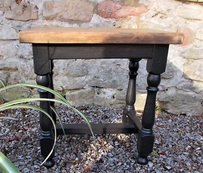 vintage stool, French wooden stool, side table, rustic lamp table, plant stand