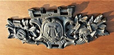 Antique French Cast Iron Architectural Mount, Plaque With musical theme 19thC