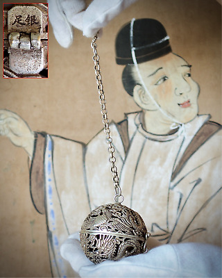 Rare Chinese Antique Silver Sphere Incense Censer (Xunqiu), 19th C or earlier