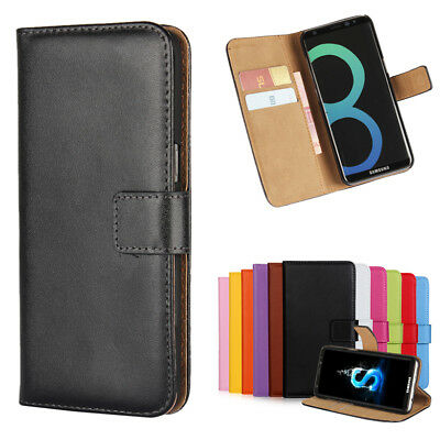 Genuine Leather Flip Wallet Case Card Stand Cover for Samsung Galaxy S8/S8 Plus