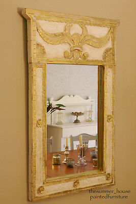 Pair of Stunning Rustic Vintage French Shabby Chic Gilt Painted Mirrors