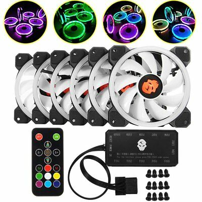 3/6Pack RGB LED Quiet Computer Case PC Cooling Fan 120mm with Remote Control JL