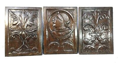 Rare Set Three Early 16th Century Carved Oak Panels c1540