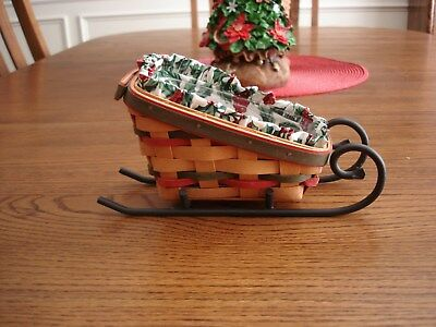 Small Logaberger Sleigh Basket with Wrought Iron Stand