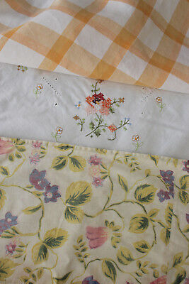 Vintage French fabrics antique material PROJECT BUNDLE embroidered napkin floral