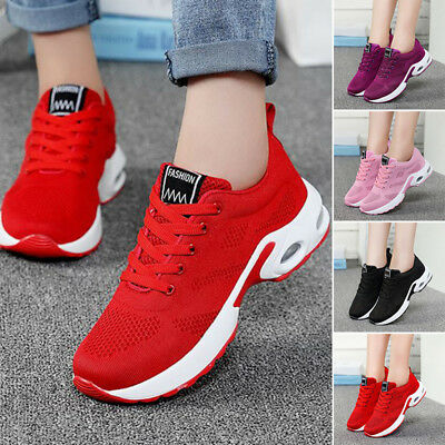 9be0378cc01 Womens Athletic Sports Shoes MESH Breathable LACE UP Sneakers Trainers  Running