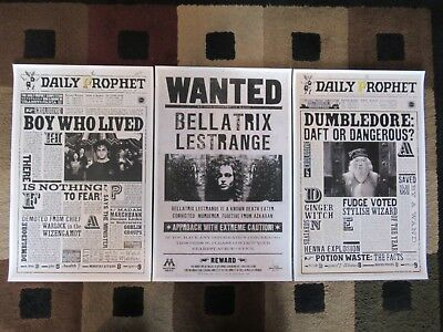 """Harry Potter / The Daily Prophet (11"""" x 17"""") Movie Poster Prints (Set of 3)"""