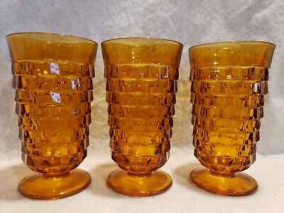 Set of 3 Vintage Indiana Amber Glass Colony Whitehall Cubist Juice Glasses Lot