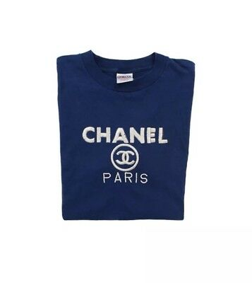Chanel Vintage 90s Bootleg Logo T-Shirt, Navy Blue / Silver, Size Large