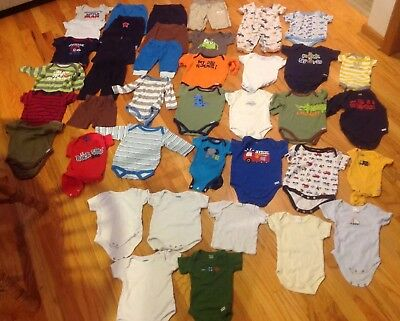 Lot of Baby Boy Infant Newborn 0-3 Months Clothing Creepers Socks Bibs