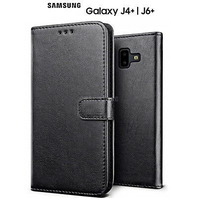COVER per Samsung Galaxy J4+/J6+ PLUS CUSTODIA PORTAFOGLIO in PELLE Nero Leather