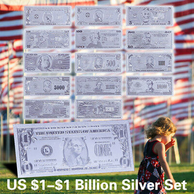 WR 14pcs Silver Foil Banknote Set US $1-$1 Billion Dollar American Bill Dad Gift