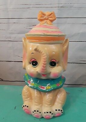 VINTAGE CHALKWARE BABY ELEPHANT BANK Made in Japan