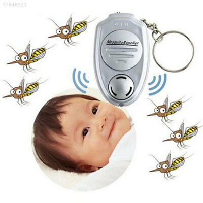 FB88 Silver Ultrasonic Mosquito Repeller Key Ring Keychain For Travel Camping Hi