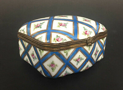 Sevres Style Handpainted Porcelain Hinged Covered Box