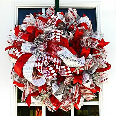Winter Wreath, Snowflake Wreath, Red and Silver Winter Wreath, Christmas Wedding