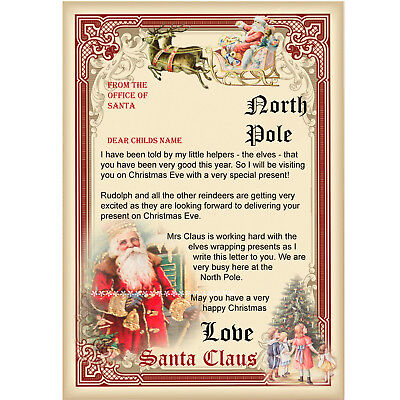 Vintage letter from Santa Claus/ Personalised Santa Letter/Father Christmas
