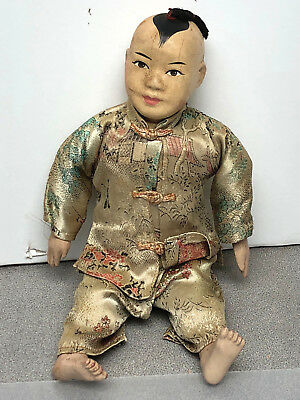 """VINTAGE CHINESE COMPOSITION 10"""" Boy Doll straw filled and braided hair"""