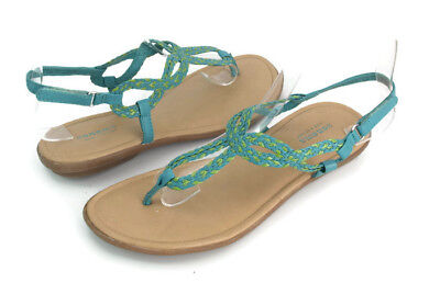 554c58fba Sonoma Girl's Turquoise/Green Ankle T Strap Thong Sandals US Size 5 M
