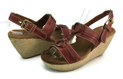 898dcf9e712 Lucky Brand FEMI Women s Red Ankle T Strap Espadrille Wedge Sandals Size  7.5 M