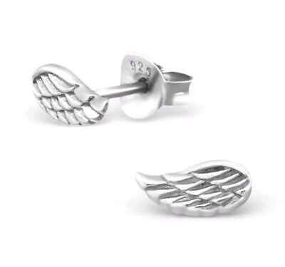 925 Sterling Silver Wings Angel Wing Beautiful Stud Earrings & Gift Box (G1)