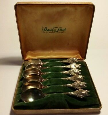 Set of 6 Boy Scouts silver plated spoon set Wolf Cubs