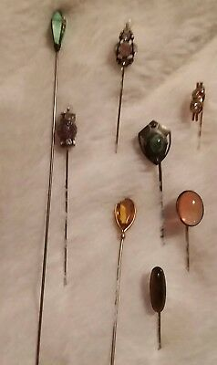 Vintage Hatpin Collection and Holder With 14 Hat Pins