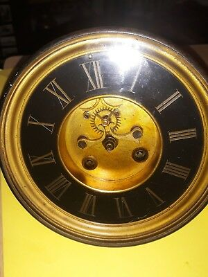vintage french mantle clock dial and movement open escapement spares project