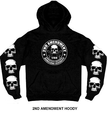 2nd Amendment HOODY Skulls Motorcycle Sweatshirt Guns Biker Hoodie Jacket Second