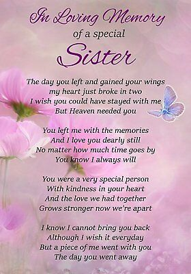 In Loving Memory Special Sister Memorial Graveside Poem Card