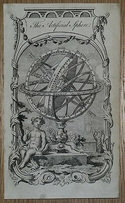 ARMILLARY ARTIFICIAL SPHERE Thomas Salmon original antique print c1750