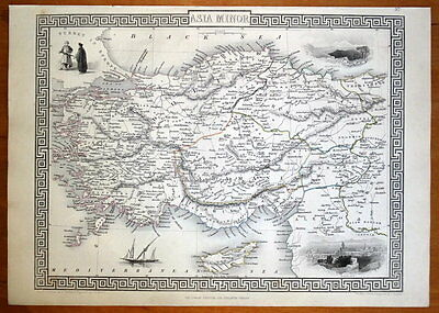 ASIA MINOR, CYPRUS, TURKEY, RAPKIN & TALLIS orig. antique illustrated map c1850