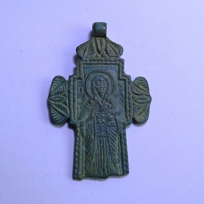 Russian Medieval Ancient Artifact Bronze Cross With Saint And Description